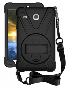 Rugged case for Samsung Tab A 8.0 T387 with hand/shoulder strap, kick stand & screen protector